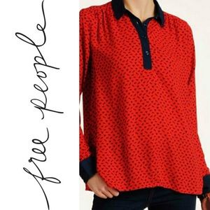 FREE PEOPLE Red/blue long sleeve blouse